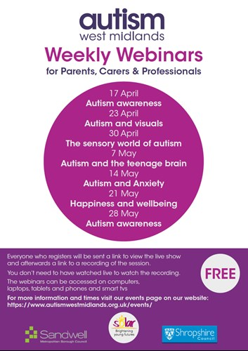 Autism West Midlands Weekly Webinars Shropshire Council